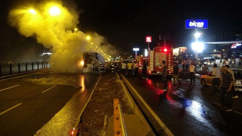 Urfa-Diyarbakır yolunda korku dolu anlar! Alev alev yandı
