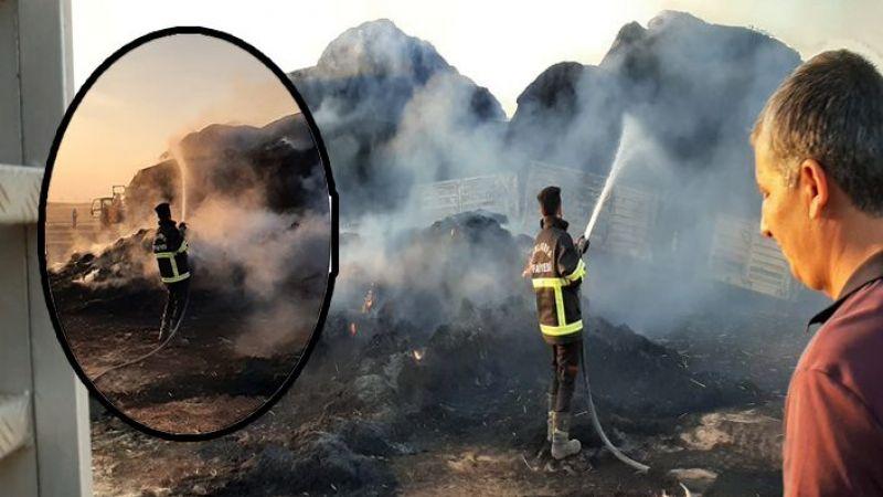 Urfa'da saman balyası yüklü TIR, alev alev yandı