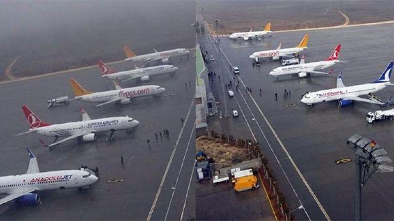 Urfa'daki fırtına ve yağmur uçuşu etkiledi: Havada panik anlar