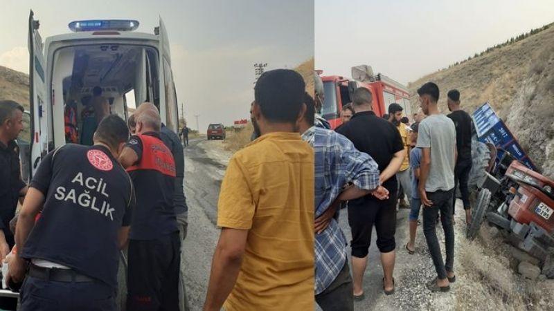Urfa'da kontrolden çıkan traktör şarampole girdi