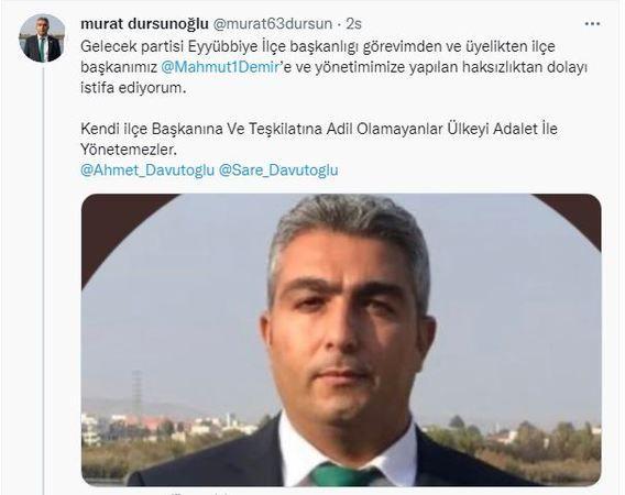 Eyyübiye İlçe Başkanı görevden alınmıştı: O isimde istifa etti!
