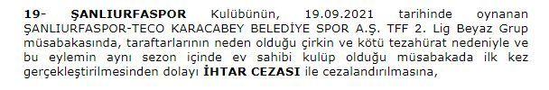 PFDK'ya sevk edilen Şanlıurfaspor'un cezası belli oldu