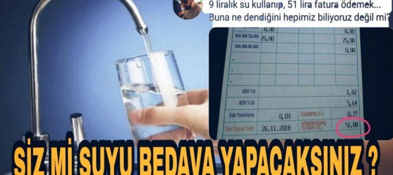 AKP'LİLER BU FATURAYI PAYLAŞACAK MI?: 1 TON SU 59 LİRA... SİZ Mİ SUYU BEDAVA YAPACAKSINIZ ?