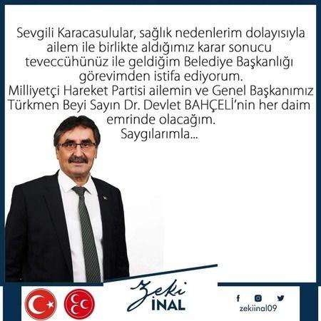 Son dakika: Karacasu Belediye Başkanı Zeki İnal istifa etti