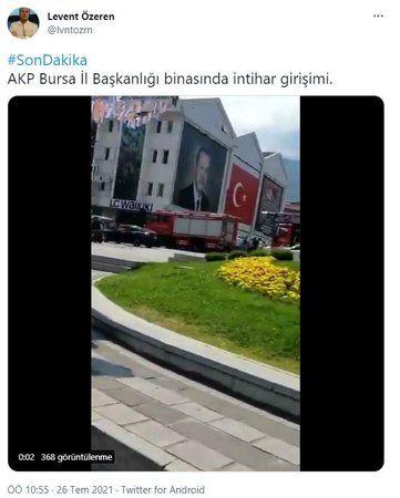 AKP İl Başkanlığı binasında intihar girişimi!