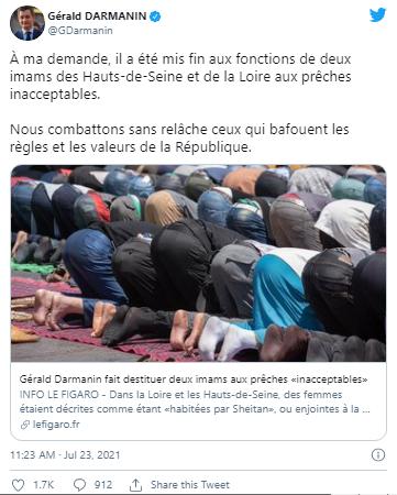 Fransa İçişleri Bakanı, iki imamı kadın düşmanlığı yaptığı için görevden aldı