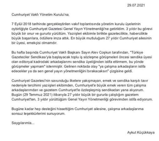 Cumhuriyet Genel Yayın Yönetmeni Aykut Küçükkaya istifa etti