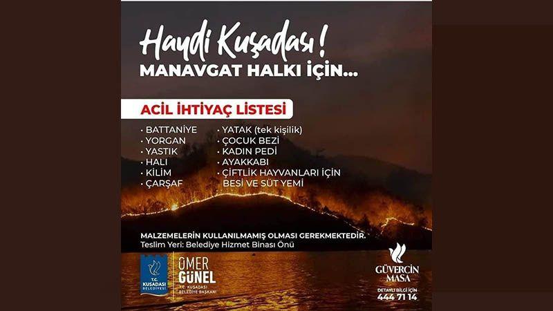 Kuşadası Belediyesi Manavgat halkı için yardım kampanyası başlattı