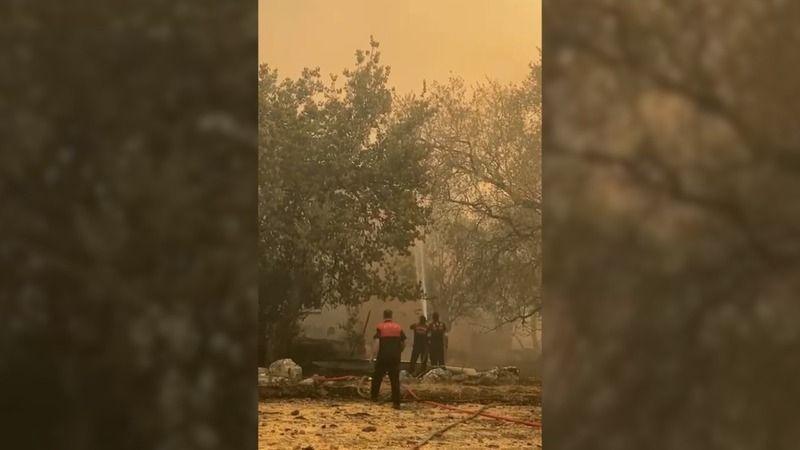 Aydın Büyükşehir Belediyesi itfaiyesi Marmaris'te ateşle mücadele ediyor