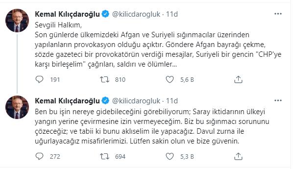 Kılıçdaroğlu'ndan 'göçmen' çıkışı: Saray iktidarının ülkeyi yangın yerine çevirmesine izin vermeyeceğim