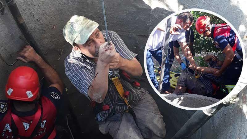15 metrelik su kuyusuna düşen şahıs kurtarıldı