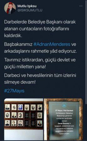 Belediyeden darbeci başkanların fotoğrafları kaldırıldı