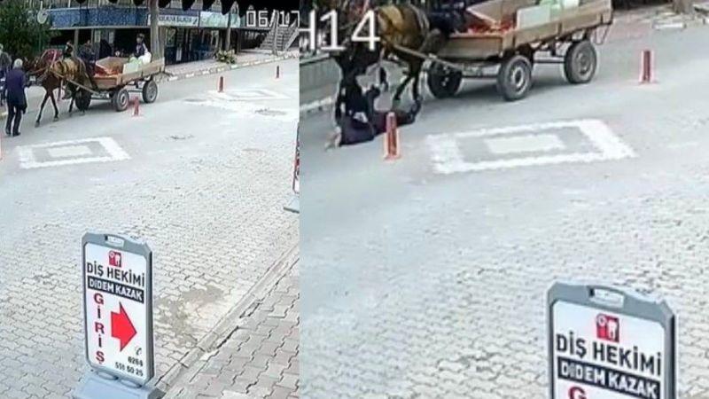 Yaşlı adama at arabası çarptı