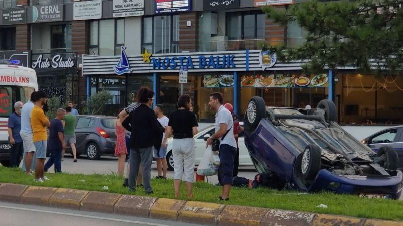 Serdivan'da araç takla attı
