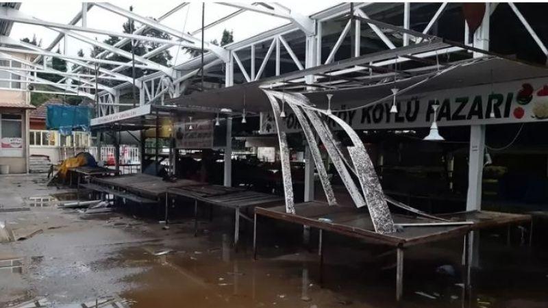 Akyazı'da pazar tezgahı zarar gördü