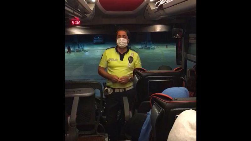 Otobüslerde kemer kontrolü yaptılar