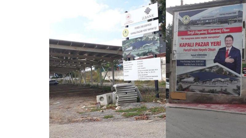 Ferizli'deki kapalı pazar yeri neden bitmedi?