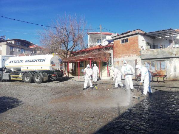 Karantinadaki kırsal mahalleye detaylı temizlik yapıldı