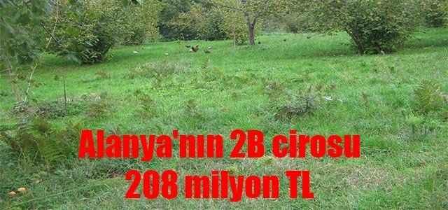 Alanya'nın 2B cirosu 208 milyon TL