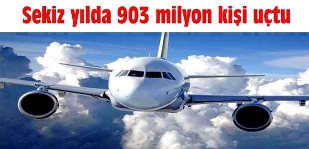 Sekiz yılda 903 milyon kişi uçtu