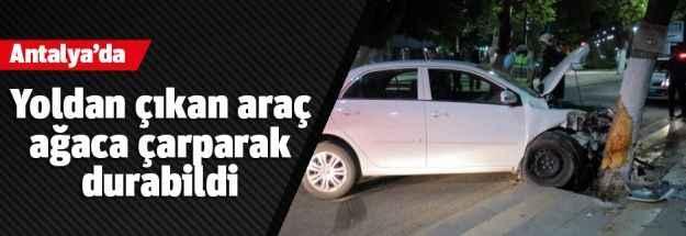 Antalya'da yoldan çıkan araç ağaca çarparak durabildi