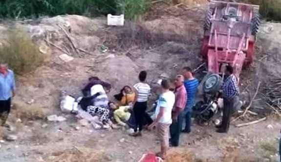 Taktak motoru uçuruma yuvarlandı: 6 yaralı