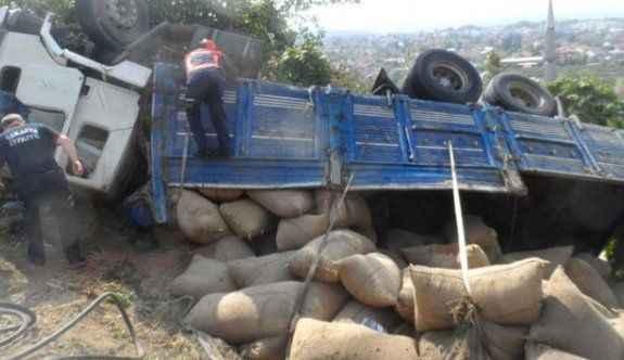 Fındık yüklü kamyon devrildi