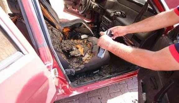 Cep telefonu patladı, otomobil yandı