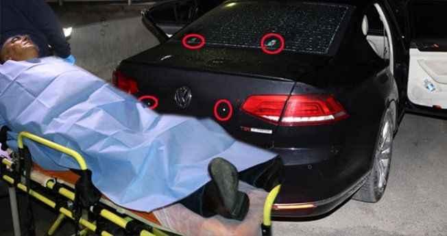 Vuruldu, 10 kurşun yiyen arabasıyla karakola sığındı