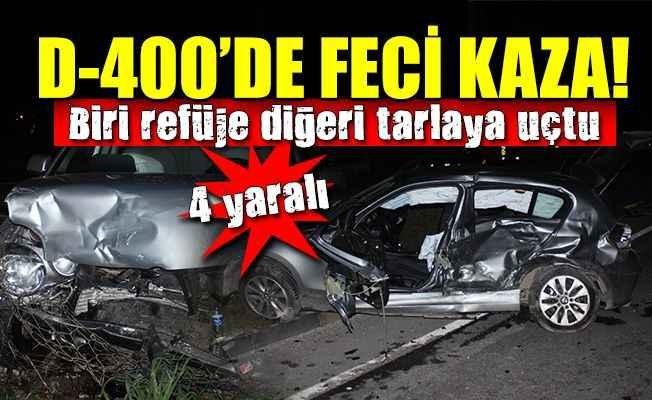 D-400'de kaza! İki otomobil çarpıştı: 4 yaralı