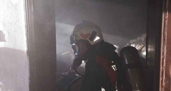 Bir evde yangın çıktı