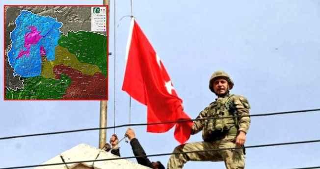 Pembe alana dikkat! Afrin'e bayrak dikildi, Suriye haritası değişti