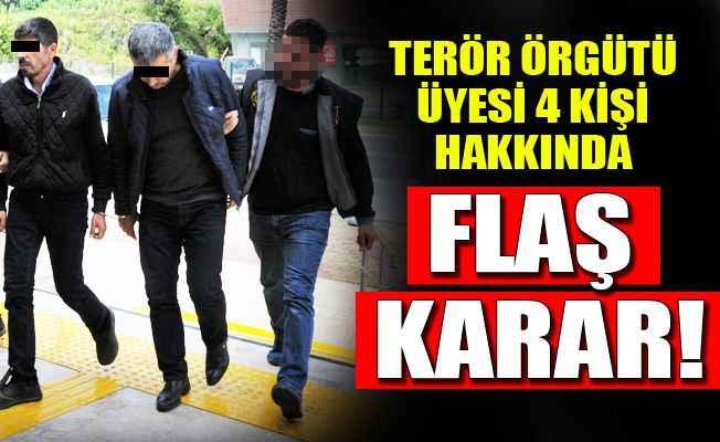 Alanya'da terör örgütü üyesi 4 kişi adliyeye sevk edildi