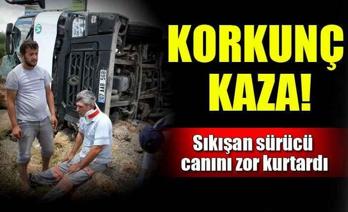 Antalya'da beton mikseri devrildi: 1 yaralı