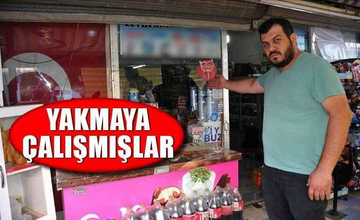 Antalya'da Türk bayrağı asılı markete saldırı