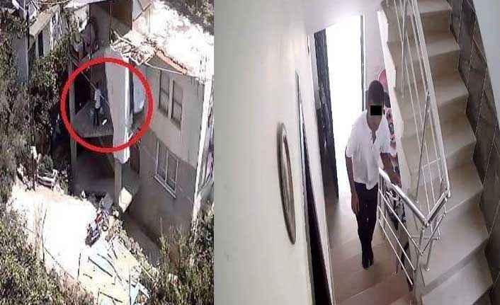Alanya'da evden tüp çalan hırsız güvenlik kamerasında