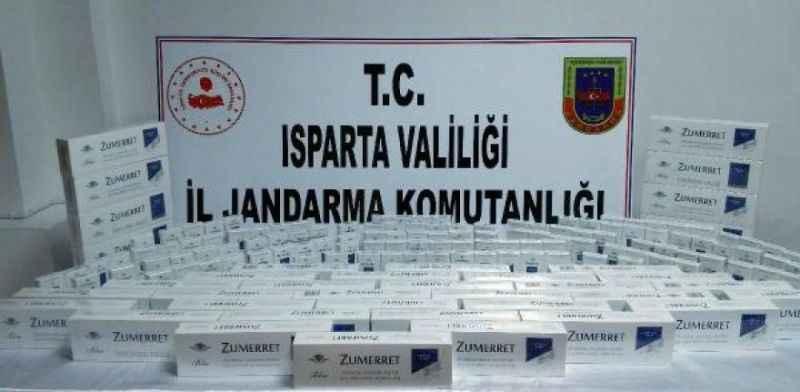 Antalya yolunda otobüste kaçak sigara ele geçirildi