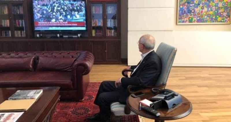 Kılıçdaroğlu, mazbatayı almaya giden İmamoğlu'nu böyle izledi