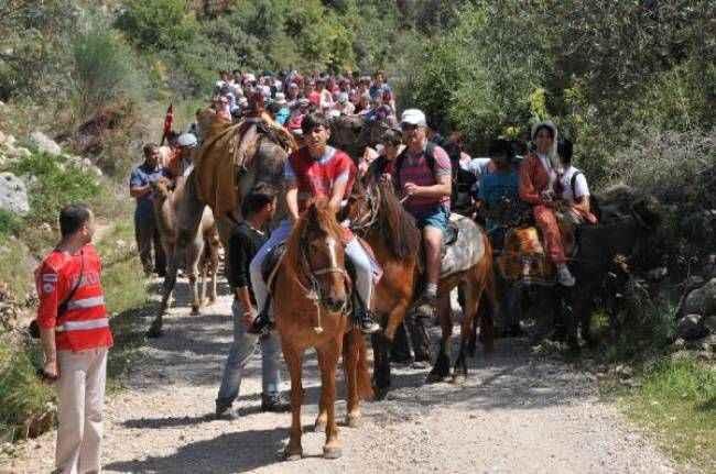 Patara Antik Su Yolu'nda develer ve atlarla Yörük kervanı