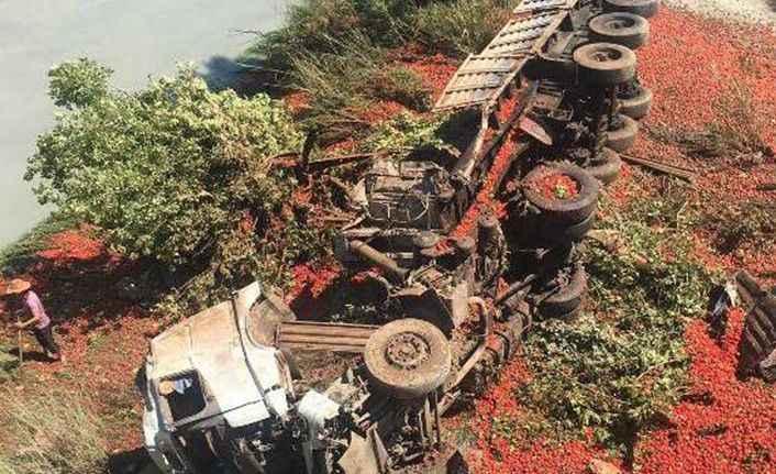 Antalya'da domates yüklü TIR devrildi, şoför öldü