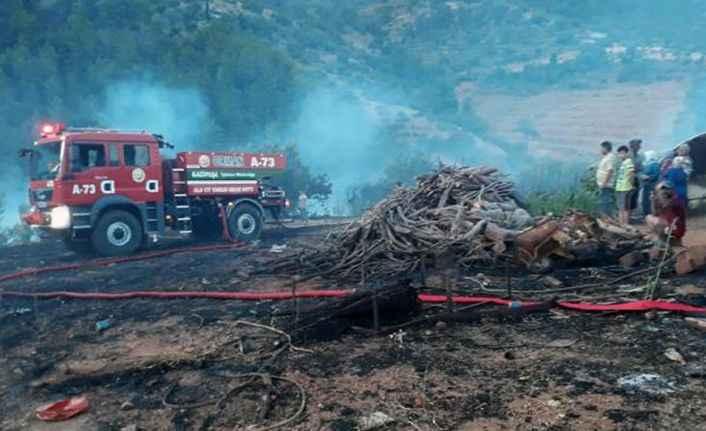 Tam 1 saat müdahale edildi! Gazipaşa'da makilik yangını