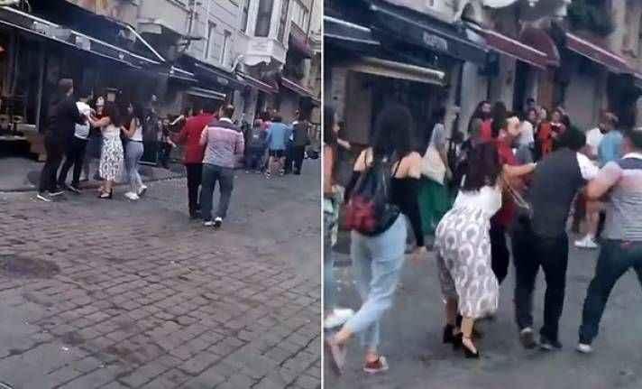 Şehrin göbeğinde kadınlı- erkekli kavga!