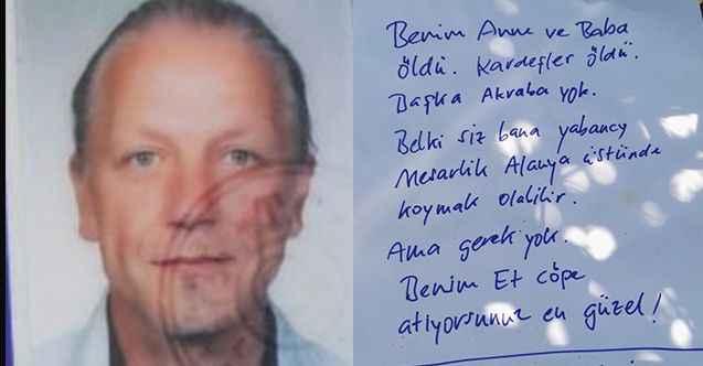 Alanya'da Alman turist 'Beni çöpe atın' yazılı notla ölü bulundu