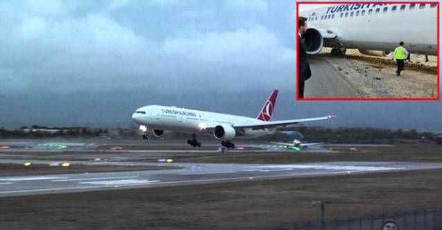 147 yolculu THY uçağında büyük panik! Bir anda taksi yolundan çıktı