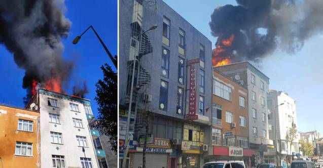 Bağcılar'da binanın çatısı alev alev yandı