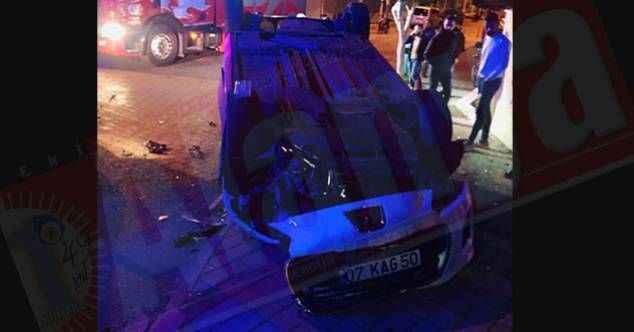 Alanya'da feci kaza! Otomobil takla attı: 2 kişi yaralandı
