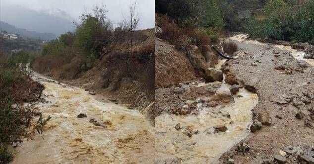 Sağanak yağış Gazipaşa'da göçük ve taşkına neden oldu