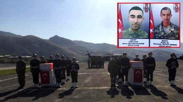 Hakkari şehidi 2 asker, törenle memleketlerine uğurlandı