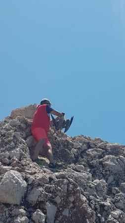 Antalya'da kayalıklarda oltaya takılan martı kurtarıldı