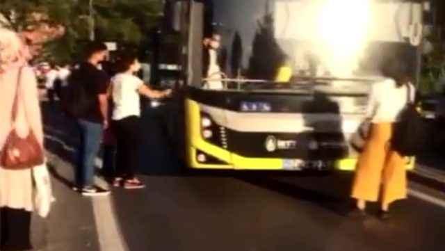 Binemediği otobüsün önünü kesti